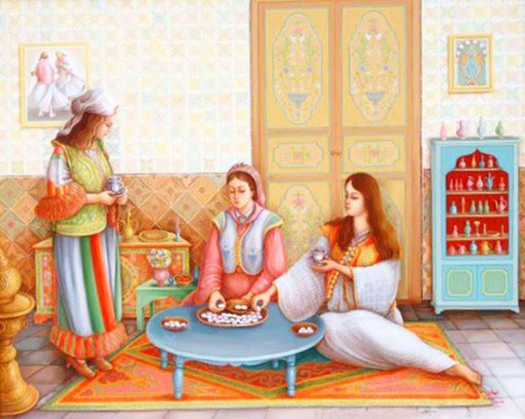 Women preparing cakes before the Aid in an Arabic house in Sfax
