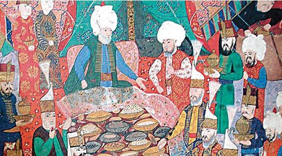 The guests of the Turkish sultan tasting the baklawa
