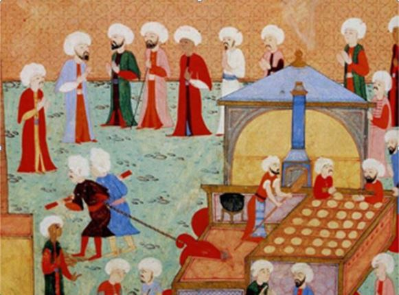 Preparation of the baklava at the palace of the sultans